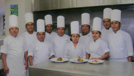 Chef Josue Cime team of young Mayan adults working at Hacienda Chichen