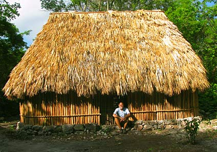 Jim Conrad at his traditional Mayan Hut within the Hacienda Chichen's private Maya Jungle Nature Reserve. Learn more about this Green Eco-Spa Resort