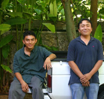 Juan (right) and Luis (left) volunteer delivering food to  the MFIL Mayan Nutrition Health Clinics in communities nearby Chichen Itza.