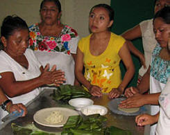 Maya Nut Cooking Workshop by the Maya Foundation In Laakeech in Xcalacoop, Yuc. Mexico