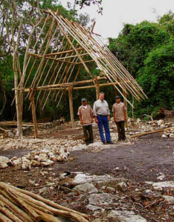 Various hardwoods are used to build a traditional Mayan Hut, in January the MFIL started constructing one using ancestral Mayan building techniques.