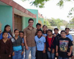 MFIL Volunteer Pablo Pavlovech and his students at Xcalacoop Elementary School